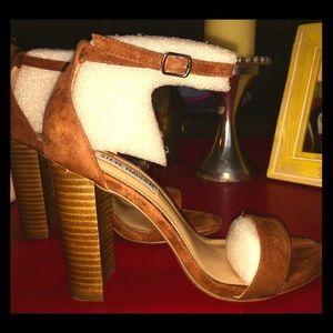 Steve Madden Carrson Ankle Strap Heel-Brown Suede